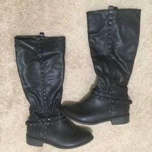 Shoes - Tall studded black boots